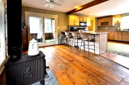 It has a large eat in kitchen with plenty of cabinet space