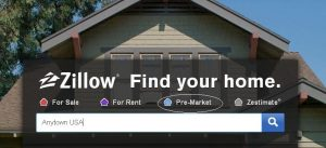 """When a home buyer goes to Zillow's home page search portal, they can click on the blue house icon, """"Pre-Market."""""""
