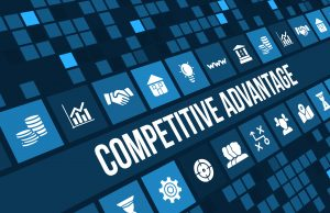 Competitive advantage concept image with business icons and copyspace.