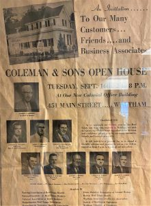 Coleman and Sons newspaper announcement