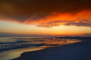 A beautiful sunset on a beach in Florida